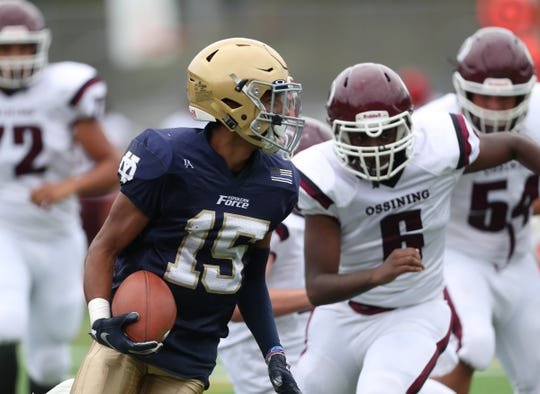 Yonkers Force's Colby Frias (15) works around Ossining's Dwayne Levy (6) during their 45-6 win over Ossining at Roosevelt High School on Saturday, September 14, 2019.