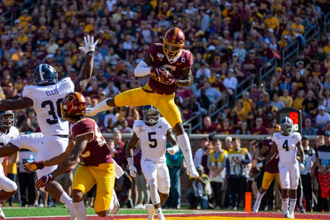Minnesota Golden Gophers wide receiver Tyler Johnson catches a touchdown in the first half against the Georgia Southern Eagles at TCF Bank Stadium. Johnson and fellow receiver Rashod Bateman are big reasons the Gophers are undefeated heading into Saturday's Big 10 opener at Purdue.