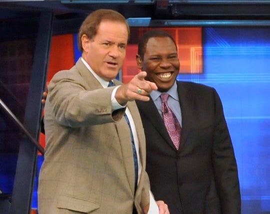 Chris Berman, left, and Tom Jackson on the ESPN set in 2008.