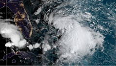 Tropical Storm Humberto moves toward The Bahamas Saturday, Sept. 14, 2019. Forecasters expect the storm to strengthen into a hurricane by Sunday night after returning to open water east of Florida.