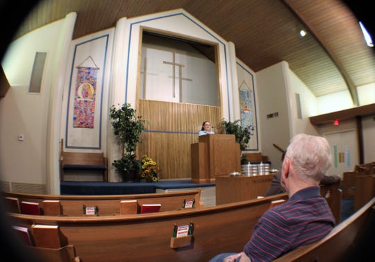 Karen Cooke was the guest preacher Sunday at Minter Lane Church of Christ. She spoke at one point during her sermon about the warm welcome she previously received in breaking ground as a woman in the pulpit.