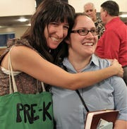 How good was her sermon Sunday? Karen Cooke got a big hug after the service ended at Minter Lane Church of Christ.