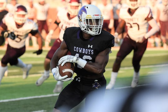 HSU's Jaquan Hemphill (16) turns after catching a pass against Trinity earlier this season. Hemphill was granted a medical redshirt and returned to the field this season, breaking the Cowboys' career rushing touchdown record last week and has other records in sight.