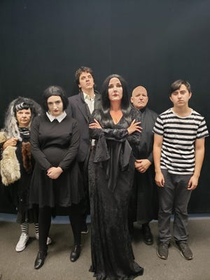 The Addams Family (minus Gomez, from left: Grandma (Mary Lou Mills), Wednesday (Madelyn Bjorn), Lurch (Micah Kolding), Uncle Fester (Troy Turnley) and Pugsley (Lukas Brambila).