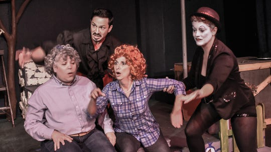 """Hucklebee (Anastasia Lamb, from left), El Gallo (Daniel Kluth), Bellomi (Janet Barton) and the Mute (Jennifer Pippin-Montanez) in the Jewel Box's """"The Fantasticks."""""""