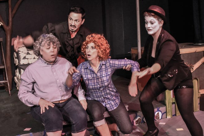 "Hucklebee (Anastasia Lamb, from left), El Gallo (Daniel Kluth), Bellomi (Janet Barton) and the Mute (Jennifer Pippin-Montanez) in the Jewel Box's ""The Fantasticks."""