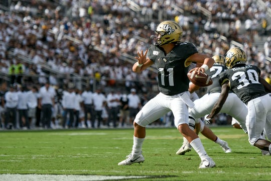 UCF quarterback Dillon Gabriel (11) drops back to pass against the Stanford Cardinal during the second quarter at Spectrum Stadium on Saturday, Sept. 14, 2019, in Orlando.