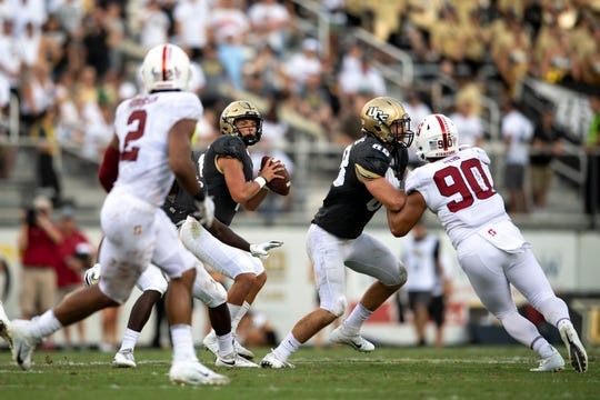 UCF quarterback Dillon Gabriel drops back to pass against the Stanford Cardinal during the third quarter at Spectrum Stadium on Saturday, Sep 14, 2019, in Orlando.