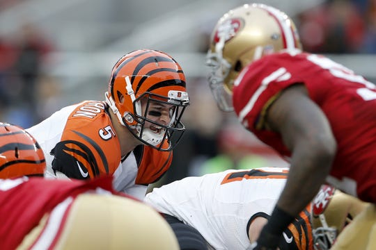 Cincinnati Bengals quarterback AJ McCarron (5) under center in the second quarter during the Week 15 NFL game between the Cincinnati Bengals and the San Francisco 49ers, Sunday, Dec. 20, 2015, at Levi's Stadium in Santa Clara, California. The Bengals lead 21-0 at halftime.