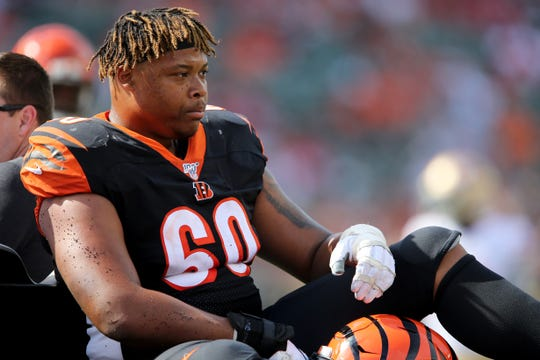 Cincinnati Bengals offensive guard Mike Jordan (60) is taken off the field after suffering an injury in the fourth quarter of a Week 2 NFL football game against the San Francisco 49ers, Sunday, Sept. 15, 2019, at Paul Brown Stadium in Cincinnati.