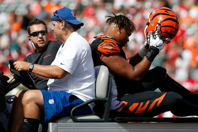 Cincinnati Bengals offensive guard Mike Jordan (60) is carted off with any injury in the fourth quarter of the NFL Week 2 game between the Cincinnati Bengals and the San Francisco 49ers at Paul Brown Stadium in Cincinnati on Sunday, Sept. 15, 2019. The Bengals fell to 0-2 on the season with a 41-17 loss to the 49ers in the home opener.