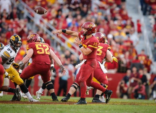 Iowa State sophomore quarterback Brock Purdy fires a pass in the second quarter against Iowa on Saturday, Sept. 14, 2019, at Jack Trice Stadium in Ames.