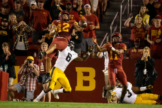 Iowa State defensive back Greg Eisworth nearly intercepts a pass intended for Iowa junior wide receiver Ihmir Smith-Marsette during the Cy-Hawk football game Sept. 14 at Jack Trice Stadium in Ames.