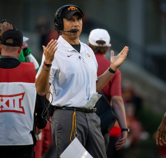 Iowa State head coach Matt Campbell questions a call during the Cy-Hawk football game at Jack Trice Stadium on Saturday, Sept. 14, 2019 in Ames. Iowa State took a 7-6 lead over Iowa into halftime.