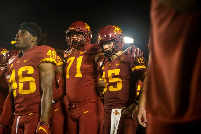 Iowa State quarterback Brock Purdy (So.) (15) stands with his teammates as they face the band after loosing the Cy-Hawk football game to Iowa 17-18 at Jack Trice Stadium on Saturday, Sept. 14, 2019 in Ames.