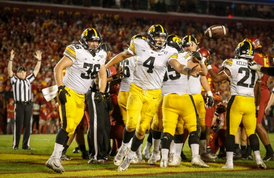 Iowa quarterback Nate Stanley accounted for the Hawkeyes' lone touchdown, on a QB sneak, in Saturday's 18-17 win at Iowa State.