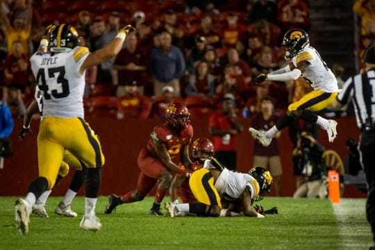 Iowa hasn't played a meaningful snap since this Devonte Young fumble recovery to put away the Sept. 14 game at Iowa State. The Hawkeyes are back in action Saturday against Middle Tennessee State.
