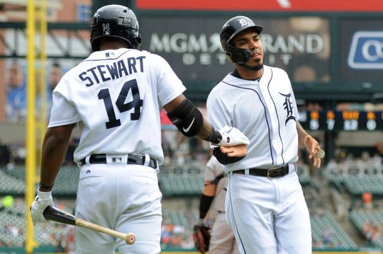 Tigers center fielder Harold Castro, right, is congratulated by designated hitter Christin Stewart after scoring a run in the first inning on Sunday, Sept. 15, 2019, at Comerica Park.