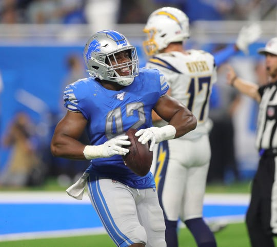 Detroit Lions outside linebacker Devon Kennard celebrates recovering a fumble by the Los Angeles Chargers at the goal line during the second half Sunday, Sept. 15, 2019 at Ford Field.