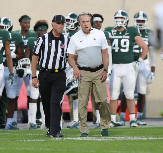 Michigan State Spartans head coach Mark Dantonio waits as the officials review a field goal during the final seconds against Arizona State, Saturday, Sept. 14, 2019 at Spartan Stadium.