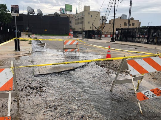 An apparent water main break shuts off part of 2nd Avenue in downtown Detroit Sept. 15, 2019.