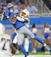 Detroit Lions receiver Kenny Golladay makes the go-ahead touchdown catch against Los Angeles Chargers cornerback Casey Hayward during the fourth quarter Sunday, Sept. 15, 2019 at Ford Field.