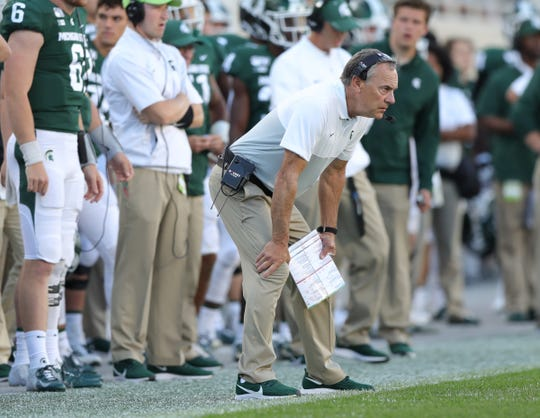 Michigan State Spartans head coach Mark Dantonio during the second half against Arizona State, Sept. 14, 2019 at Spartan Stadium.