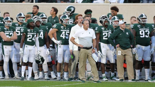 Michigan State Spartans head coach Mark Dantonio watches as Arizona State celebrates the go-ahead touchdown late in the fourth quarter Saturday, Sept. 14, 2019 at Spartan Stadium.