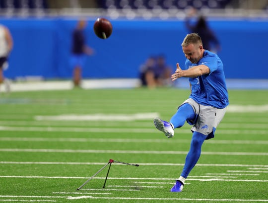 Lions kicker Matt Prater warms up before the game against the Los Angeles Chargers on Sunday, Sept. 15, 2019, at Ford Field.