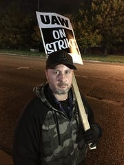 """Carl Shehorn III, 40, of Burton is a 4th generation plant worker. """"We're fighting for our rights."""""""