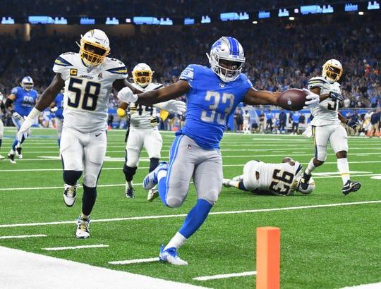 Lions running back Kerryon Johnson