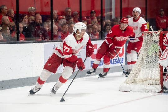 Detroit defenseman Oliwer Kaski had a goal in the annual Red-White intrasquad scrimmage Sunday in Traverse City.