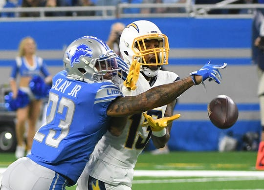 Lions' Darius Slay breaks up a pass for Chargers' Keenan Allen in the first quarter.