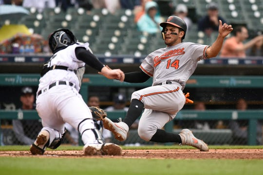 Detroit Tigers catcher Grayson Greiner tags out the Baltimore Orioles' Rio Ruiz at home plate in the sixth inning.