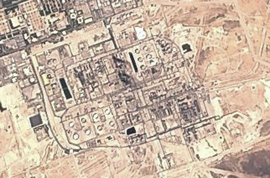 This Sunday, Sept. 15, 2019 false-color image from the European Commission's Sentinel-2 satellite shows Saudi Aramco's Abqaiq oil processing facility in Buqyaq, Saudi Arabia.