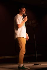 Mitch Phillips shares his routine with the audience at Club Downunder's Open Mic Night on Thursday, September 12.