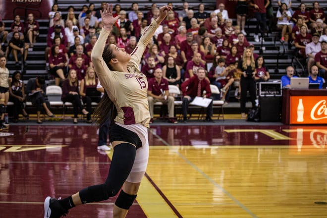 Payton Caffrey leads the 'Noles with 75 kills through 20 sets played this season.