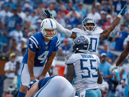 Indianapolis Colts kicker Adam Vinatieri (4) watches as his extra point attempt hit the upright in the fourth quarter of their game at Nissan Stadium in Nashville, TN., on Sunday, Sept. 15, 2019.