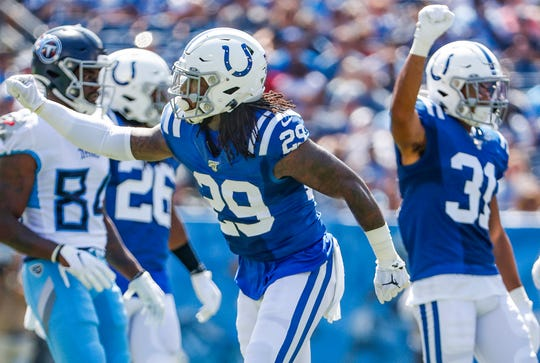 Indianapolis Colts free safety Malik Hooker (29) and cornerback Quincy Wilson (31 celebrated a defensive play  on Sept. 15, 2019.  Hooker is injured now, but hopes to return soon.