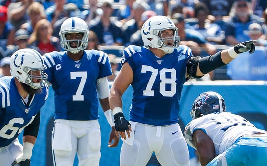 Indianapolis Colts center Ryan Kelly (78), right, calls out to teammates at the start of a play in the first quarter of their game at Nissan Stadium in Nashville, Tenn., on Sunday, Sept. 15, 2019.