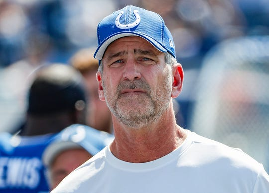 Indianapolis Colts head coach Frank Reich before the stadium team match , Tenn., Sunday, September 15, 2019 <meta itemprop=
