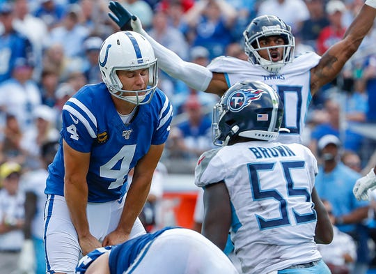 Indianapolis Colts kicker Adam Vinatieri (4) reacts after missing his second extra point of the game, in the fourth quarter at Nissan Stadium in Nashville, Tenn., on Sunday, Sept. 15, 2019.