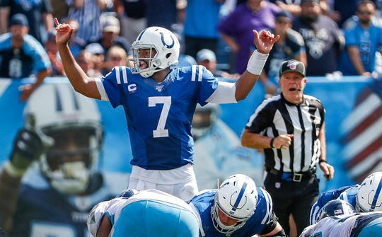 Indianapolis Colts quarterback Jacoby Brissett (7) calls out a play on the fourth down with inches to go in the fourth quarter of their game at Nissan Stadium in Nashville, Tenn., on Sunday, Sept. 15, 2019. The Colts won, 19-17.