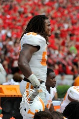 Tennessee linebacker Curt Maggitt (56) during the final minutes of the 35-32 loss to Georgia on Saturday, Sep. 27, 2014, in Athens, Ga. MICHAEL PATRICK/NEWS SENTINEL