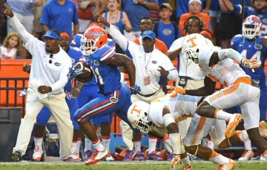 Florida wide receiver Antonio Callaway (81) runs to score the game-winning touchdown in Tennessee's 28-27 loss at Ben Hill Griffin Stadium in Gainesville, Sept. 26, 2015. (ADAM LAU/NEWS SENTINEL)