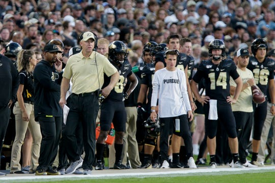 Purdue head coach Jeff Brohm watches from the sidelines during the first quarter of a NCAA football game, Saturday, Sept. 14, 2019 at Ross-Ade Stadium in West Lafayette.