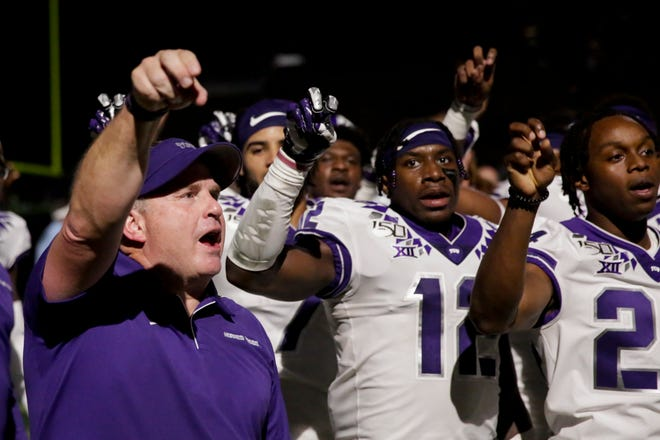 Texas Christian University head coach Gary Patterson celebrates after defeating Purdue, 34-13, Saturday, Sept. 14, 2019 at Ross-Ade Stadium in West Lafayette.