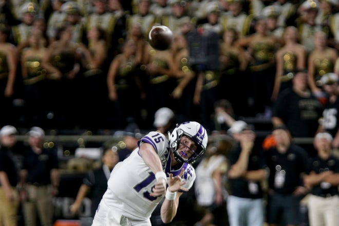 Texas Christian University quarterback Max Duggan (15) throws during the second quarter of a NCAA football game, Saturday, Sept. 14, 2019 at Ross-Ade Stadium in West Lafayette.