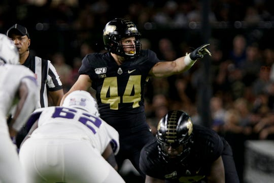 Purdue linebacker Ben Holt (44) motions during the second quarter of a NCAA football game, Saturday, Sept. 14, 2019 at Ross-Ade Stadium in West Lafayette.