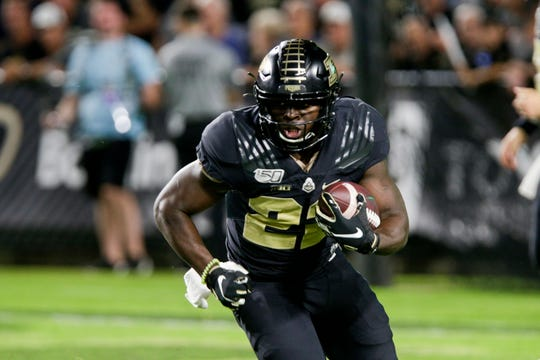Purdue running back King Doerue (22) runs the ball during the third quarter of an NCAA football game, Saturday, Sept. 14, 2019 at Ross-Ade Stadium in West Lafayette.